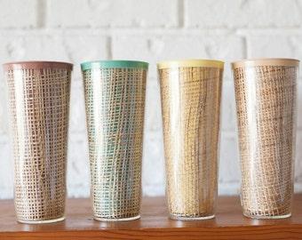 Vintage Set of Four (4) Pastel Raffiaware Tiki Wicker Woven Melmac Melamine Tumblers