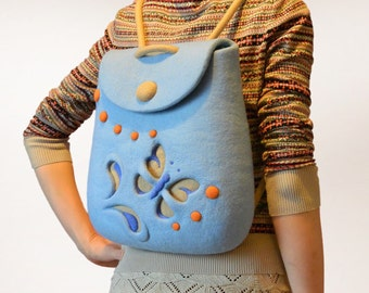 Blue Felt Backpack Handmade, Hand Felted Light Summer Backpack with Felt Butterfly