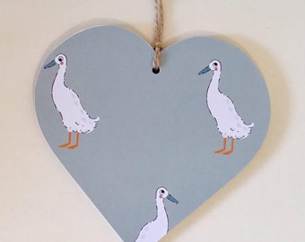 Decoupaged Hanging Heart Runner Duck  Print - Countryside Country Kitchen Decor Gift ~ 10cm or 8cm size