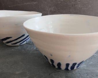 Rice Bowls, Handmade Pair Salad Bowls, Hand Thrown Pair Ceramic Rice Bowls, Handmade Rice Bowls, Porcelain Rice Bowls