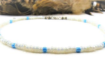 White Beaded Choker, Seed Bead Choker, Boho Choker, Beaded Choker, White Necklace, Choker Necklace, Seed Bead Necklace, Simple, Dainty, Blue