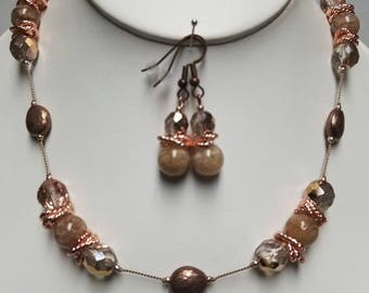 Pink Agate and Swarovski Crystal Necklace and Earrings, Free Shipping (E17253), Pink Agate Necklace, Pendantlady,Pq