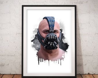 Bane, Tom Hardy, The Dark Knight Rises,  Artwork, Handmade, Printable Art, Poster, Instant Download, Digital Print, Home Decor, Wall Art