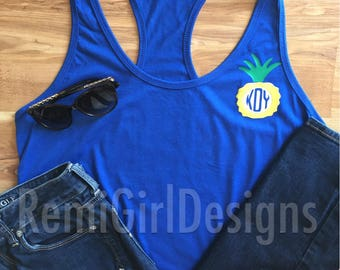 monogram pineapple, pineapple tank, monogram tank, custom tank top, personalized tank top, summer monogram, initial tank top, pineapple
