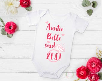Auntie said YES! Engagement announcement, engagement announcement bodysuit, engagement announcement ideas