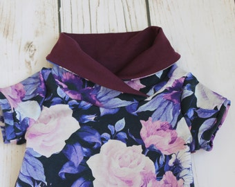 Grow with me children's tunic, cowl tunic dress for kids, grow tunic, burgundy, floral, purple, grow fonder