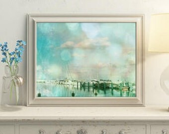 Beach wall decor Pastel art Prinrable wall art Bathroom wall decor Blue green prints Beach decor Gdynia 8x10 Home interior pictures Photo