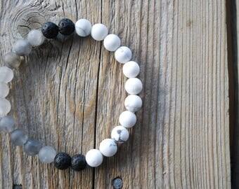 Essential oil diffuser bracelet yoga bracelet mala beads meditation beads yoga beads grey agate frosted howlite lava beads