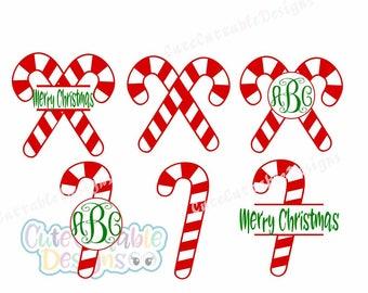 Candy Cane Monogram Frame svg, Christmas SVG, Christmas Monogram svg, Eps, Dxf, Png, Cricut, Silhouette Cut Files