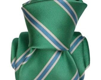 Striped Aqua Green, Blue, and White Italian Men's Tie, jacquard, green tie, aqua tie, striped tie, wedding tie, gift