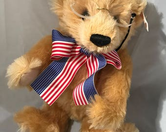 "11"" 1998 Steiff replica of first Teddy Bear with Pince-Nez and American flag ribbon."