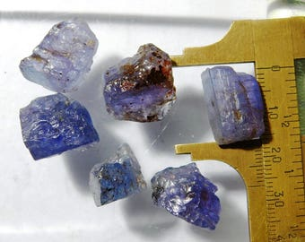 WOW!!  Rough Tanzanite Crystal Stone Gemstone 6 Pcs. Natural Tanzanite Rough Raw Tanzanite Blue Tanzanite Loose for Earrings 115 Cts.D-547