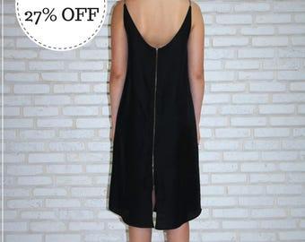 Black Women's Midi Summer Dress, Knee Length Black Dress, Short Open back dress, Short Black Loose Dress, Sleeveless Small Black Dress