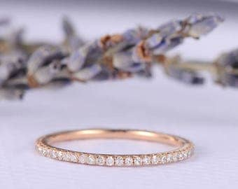 rose gold wedding band women diamond thin stacking eternity ring micro pave anniversary gift promise ring