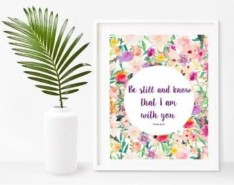Be Still And Know, Bible Verse Printable, Psalm 46 10, Bible Verse Print, Christian Art, Digital Download, Home Decor, Wall Decor