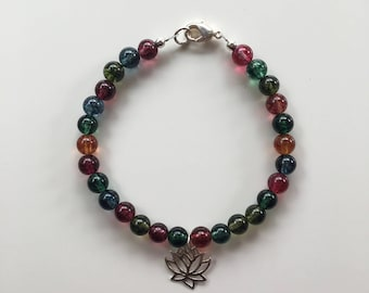 Agate bracelet with Silver Lotus Flower charm,  Yoga inspired bracelet