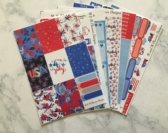 Happy Planner Weekly Planner Sticker Kit - Floral Freedom - 4th of July, patriotic, red, white, blue