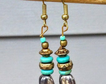 Metal/Turquoise Drop Earrings