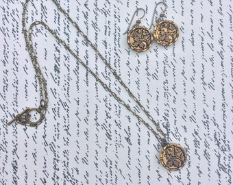 Repurposed Antique Metal Button Earrings and Necklace