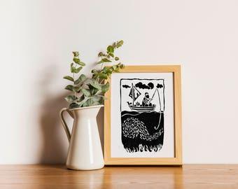 Fisherman Lino Print // Limited Edition // Wall Art // A4