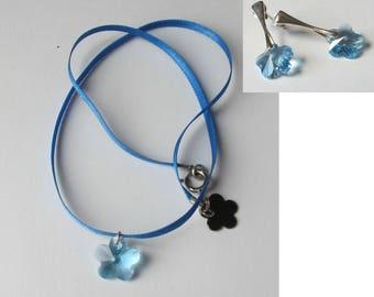 Swarovski crystal flower pendant earrings