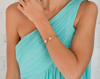 Divine Bridal Cuff Bracelet - Rose gold & white topaz. Wedding Jewelry.