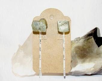 Quartz Crystal Hair Pins   Fools Gold Jewelry   Pyrite Jewelry   Crystal Headband   Silver Crown   Stone Hair Pins   Gold Quartz   Gifts