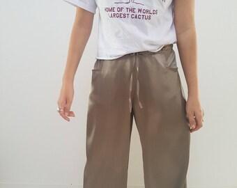 90s Silk Pants // Khaki Green Vintage Crop Wide Leg // Womens Size 10