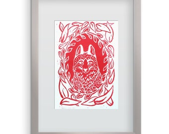 Red Forest Fox Portrait Linocut Print