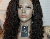 Lace front wavy human hair wig. 16-18 Inch 100% Indian virgin Remy human hair wig - Free Shipping