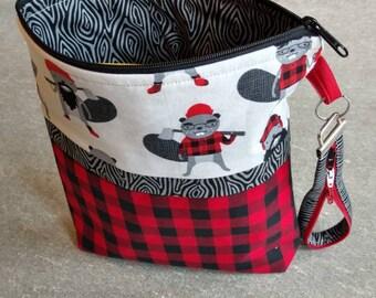 Lumberjack beavers black and red plaid zipper bag, zipper purse, clutch, quilted bag, bullet journal bag, plaid, iPad bag, zipper pouch, bag