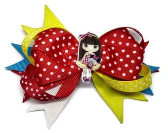 Anime Hair Bow ~ Girls stacked boutique bow ~ Birthday hairbow ~ Bright Hair bow ~ Girls kawaii hair accessories ~ red spotty hair bow ~ UK