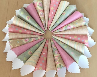 Vintage Shabby Chic Wedding Confetti Cones - Pinks, Greens and Blues