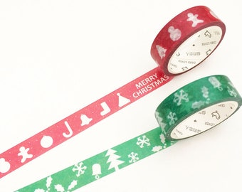 Christmas Washi Tape - Green & Red  (1 pc / 2 pcs) Japanese Stationery Masking Tape Deco Tape Planner