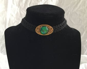 Black Lace Vintage Inspired Choker with Iridescent Jewel Pendant