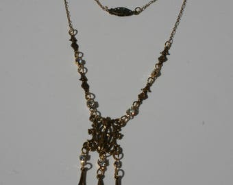 Elegant Antique gold Victorian style necklace by Sofie Green with clear sparkling rhinestones
