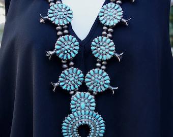 Squash blossom necklace. Zuni petit point. Signed JM Begay. 227 grams. Old world appeal