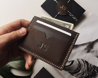 Leather Card Holder, Personalized Leather Card Holder, Leather Cardholder, Card Holder, Front Pocket Wallet, Leather Wallet, Slim Wallet