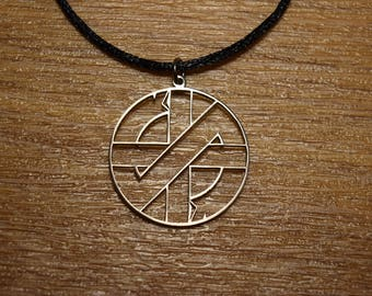 CRASS Punk necklace Welfare Rights Anarcho Crust Vegan Vegetarian Peta ELF Earth Firs symbol pin flag ALF
