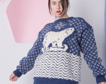 hand knitted sweater, christmas winter wool sweater / jumper, chunky knit vintage blue pullover
