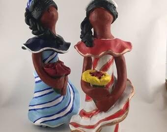 Dominican's faceless clay dolls dume's dolls handmade art doll 5 inches stripes pint blue white ivory white orange