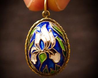 Enamel Egg Charm with Purple Iris Faberge Style Pendant
