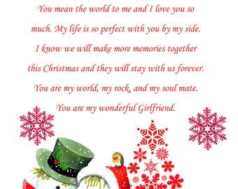 Girlfriend Christmas Card cute
