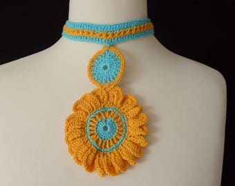"""Flower Necklace """"Provence"""" Crocheted, Plastron, Yellow and Turquoise cotton yarns"""