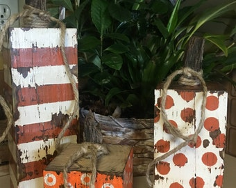 Orange & White Rustic, Handcrafted Wood Fall Pumpkins, 4x4 Decor, Weathered, Fall Decor (Set of 3)