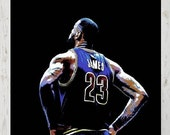 Lebron James, Cleveland Cavaliers Poster, Print or Canvas, Basketball Fan Wall Decor, King James Art, Cool Sports Fan Picture, MVP, Playoffs