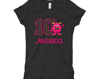Personalized 10th Birthday Shirt - Monster Birthday Shirt - Tenth Birthday Shirt 10 - Girls Birthday Shirt - Pink Monster Shirt