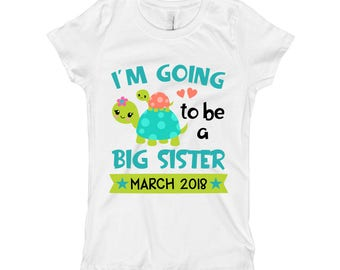I'm going to be a Big Sister Shirt- Baby Announcement Shirt Bodysuit - Girls Turtle Sister Shirt - Toddler Kids Shirt