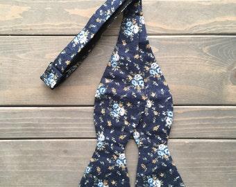 Mens Blue Floral Bow Tie - Self Tie Bow Tie