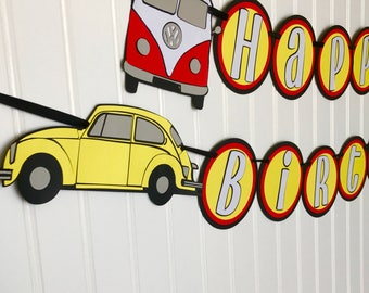 Volkswagen Birthday Banner / VW Van / VW Bug / Automobile Party Decorations / Cars Birthday / Transportation Party Banner / VW Beetle Party